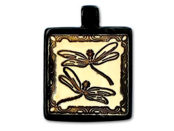 Clay River Designs Square Dragonflies with Tube Pendant
