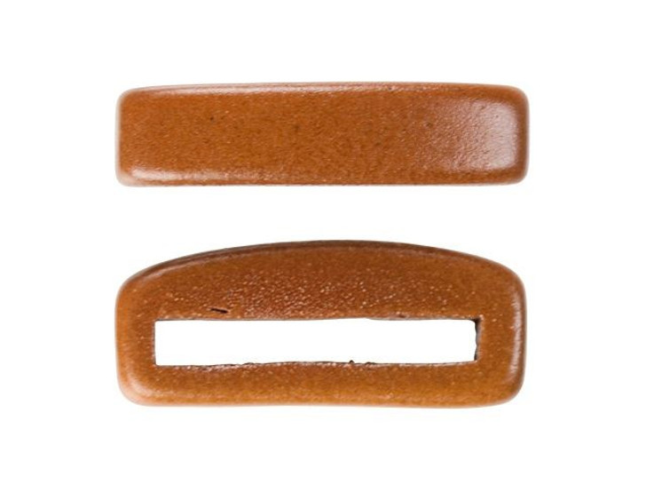 Clay River Designs Thin Brick Red Flat Leather Slider Bead