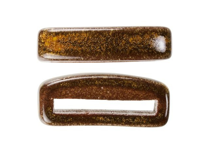 Clay River Designs Thin Brown Flat Leather Slider Bead