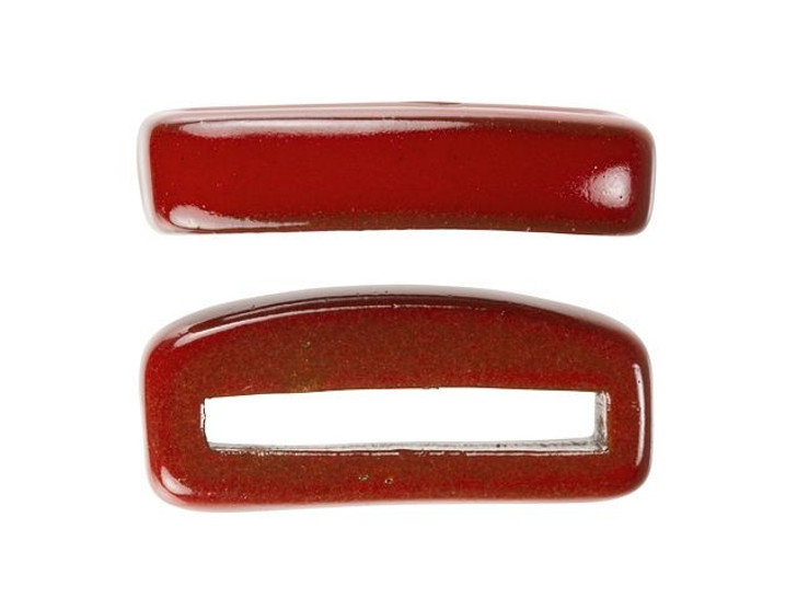 Clay River Designs Thin Red Flat Leather Slider Bead