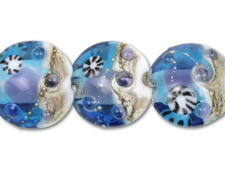 Clear/Blue Under The Sea Disc Beads (7pcs)