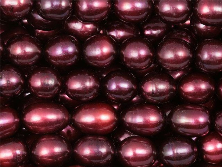 Cranberry 8.5-9mm Rice Pearls Strand