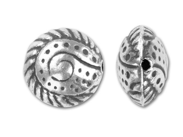 Hill Tribe Silver Swirled And Dotted Disk Bead
