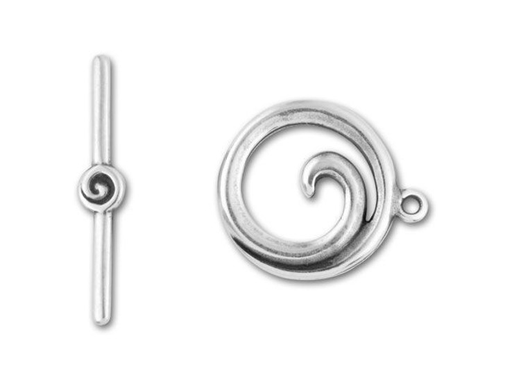JBB Antique Silver-Plated Pewter Spiral Toggle Clasp