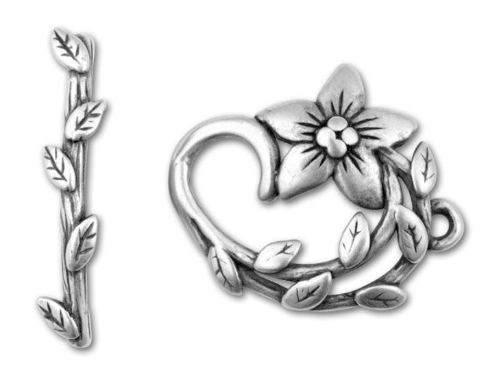 JBB Antique Silver-Plated Pewter Star-Shaped Flower Toggle Clasp