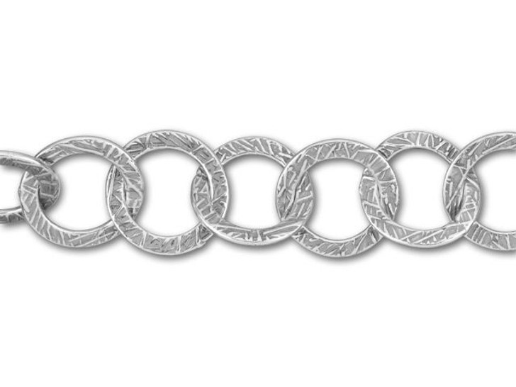 JBB Antique Silver-Plated Pewter Textured Round Link Chain by the Foot