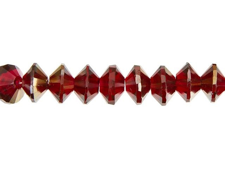 Czech Glass 10 x 6mm Cranberry Fuchsia Pink with Platinum Half Coat Saturn Cut Rondelle Bead Strand by Raven's Journey
