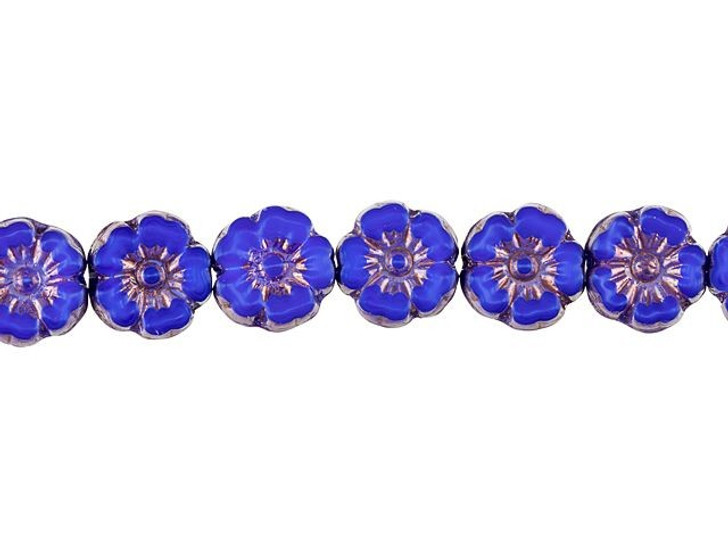 Czech Glass 10mm Dark Blue Silk with Bronze Finish Hibiscus Flower Bead Strand by Raven's Journey