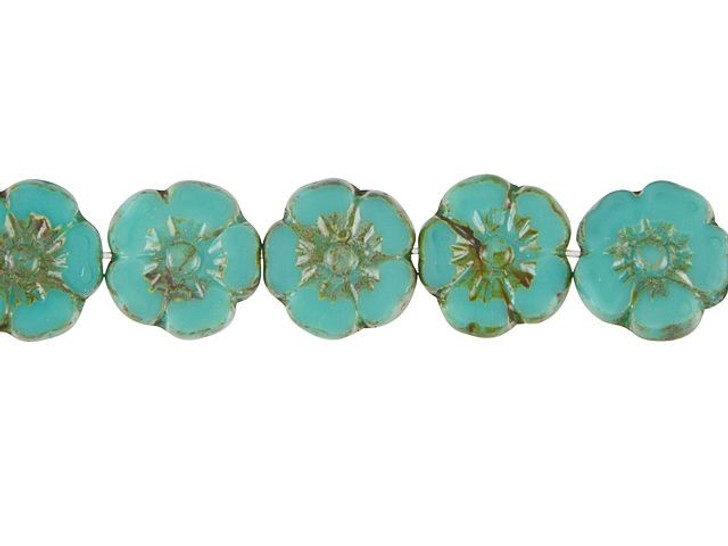 Czech Glass 10mm Opaque Turquoise with Picasso Finish Hibiscus Flower Bead Strand by Raven's Journey