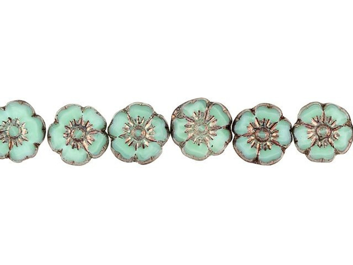 Czech Glass 10mm Sea Green Silk with Bronze Finish Hibiscus Flower Bead Strand by Raven's Journey
