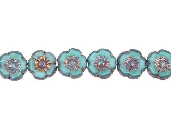 Czech Glass 10mm Turquoise Silk with Bronze Finish Hibiscus Flower Bead Strand by Raven's Journey