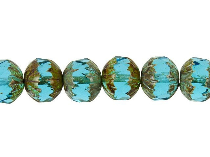 Czech Glass 11 x 10mm Aqua Blue Picasso Center Faceted Round Bead Strand by Raven's Journey