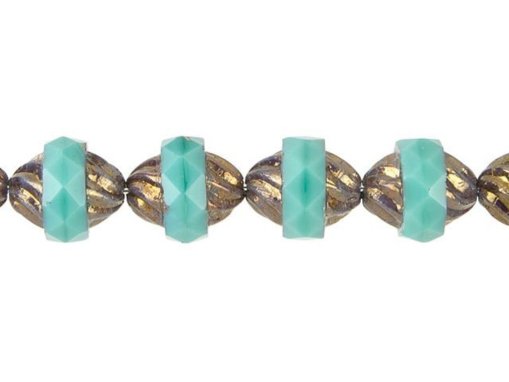 Czech Glass 11 x 10mm Opaque Turquoise with Dark Bronze Finish Spiral Central-Cut Oval Bead Strand by Raven's Journey