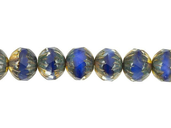 Czech Glass 11 x 10mm Royal Blue Silk Picasso Center Faceted Round Bead Strand by Raven's Journey