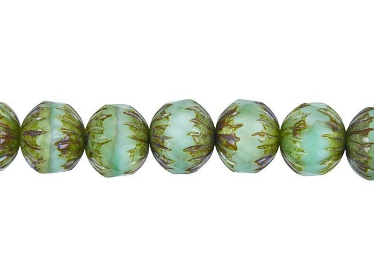 Czech Glass 11 x 10mm Seafoam Green and Crystal Silk Mix Picasso Center Faceted Round Bead Strand by Raven's Journey