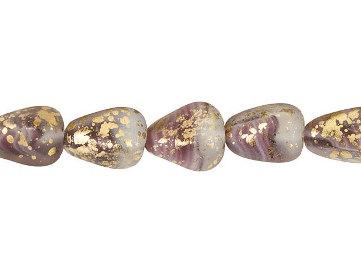 Czech Glass 12 x 10mm Purple and Matte Crystal with Antiqued Gold Finish Old Style Drop Bead Strand by Raven's Journey