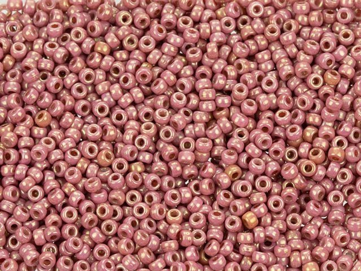 Matubo 11/0 Czech Glass Luster Opaque Dk Pink Seed Bead 2.5-Inch Tube