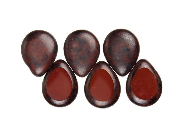 Czech Glass 12 x 16mm Burnt Umber Black Picasso Polished Drop Bead Strand by Starman