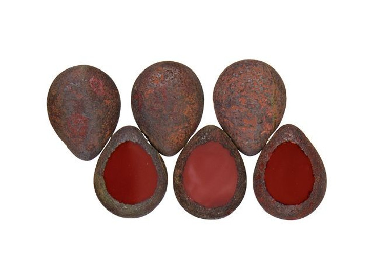 Czech Glass 12 x 16mm Burnt Umber Stone Picasso Polished Drop Bead Strand by Starman