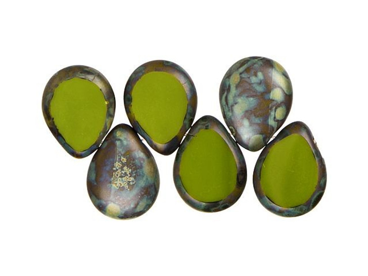 Czech Glass 12 x 16mm Opaque Olive Picasso Polished Drop Bead Strand by Starman