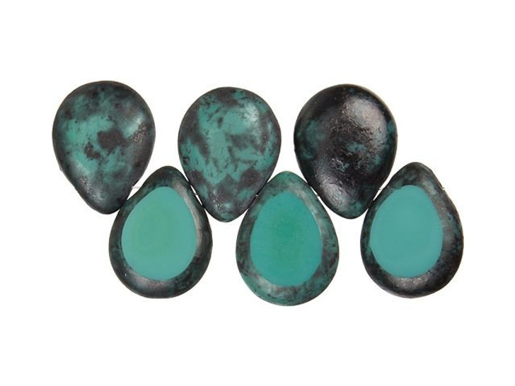 Czech Glass 12 x 16mm Persian Turquoise Black Picasso Polished Drop Bead Strand by Starman