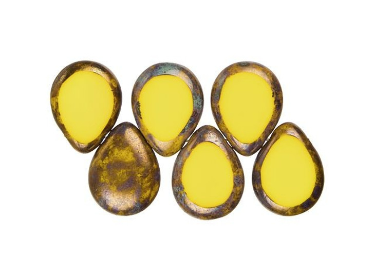 Czech Glass 12 x 16mm Sunflower Yellow Bronze Picasso Polished Drop Bead Strand by Starman