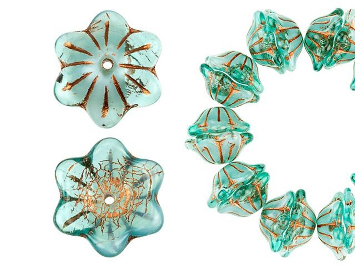 Czech Glass 12 x 6mm Aqua Transparent with White Core and Copper Wash Wide Bell Flower Bead Strand by Raven's Journey