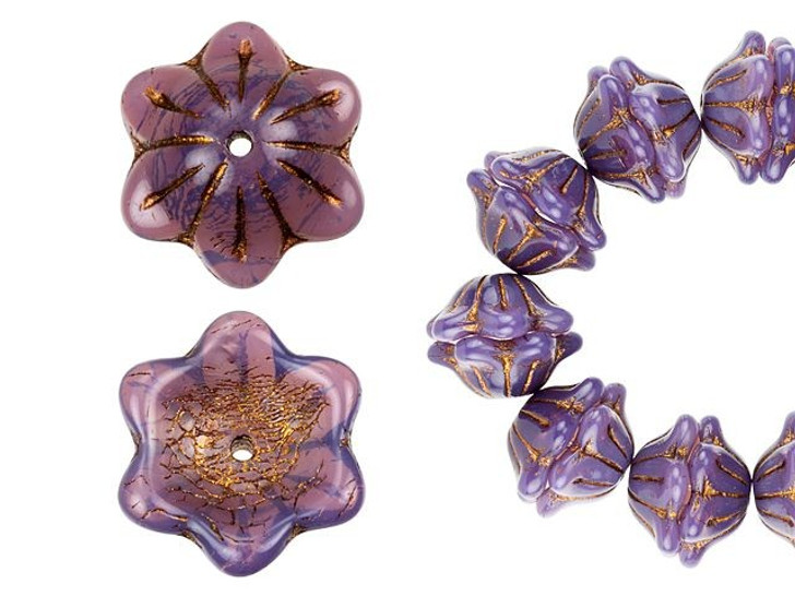 Czech Glass 12 x 6mm Purple Opaline with Dark Bronze Wash Wide Bell Flower Bead Strand by Raven's Journey