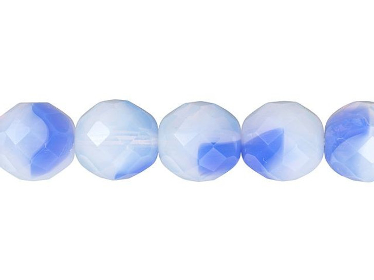 Czech Glass 12mm Arctic Blue/Milky White Fire-Polished Bead Strand by Starman