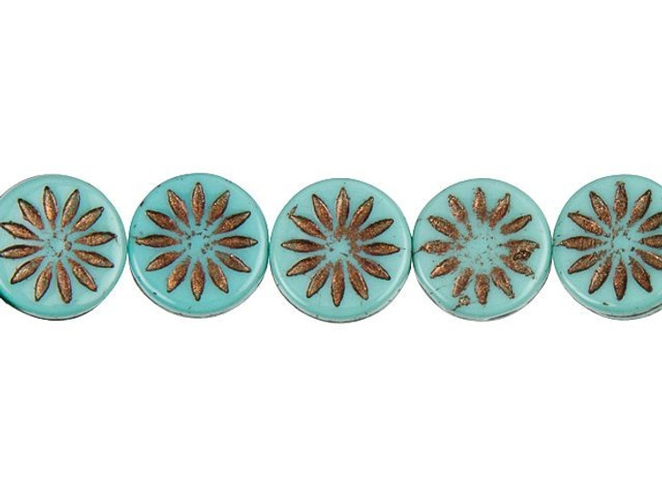 Czech Glass 12mm Aster Flower Coin Opaque Turquoise with Dark Bronze Wash Bead Strand by Raven's Journey