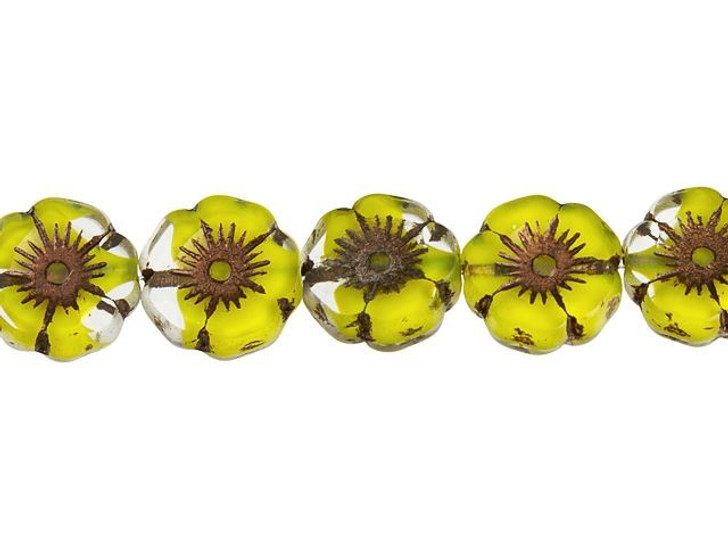 Czech Glass 12mm Canary Yellow and Crystal with Dark Bronze Finish Hibiscus Flower Bead Strand by Raven's Journey
