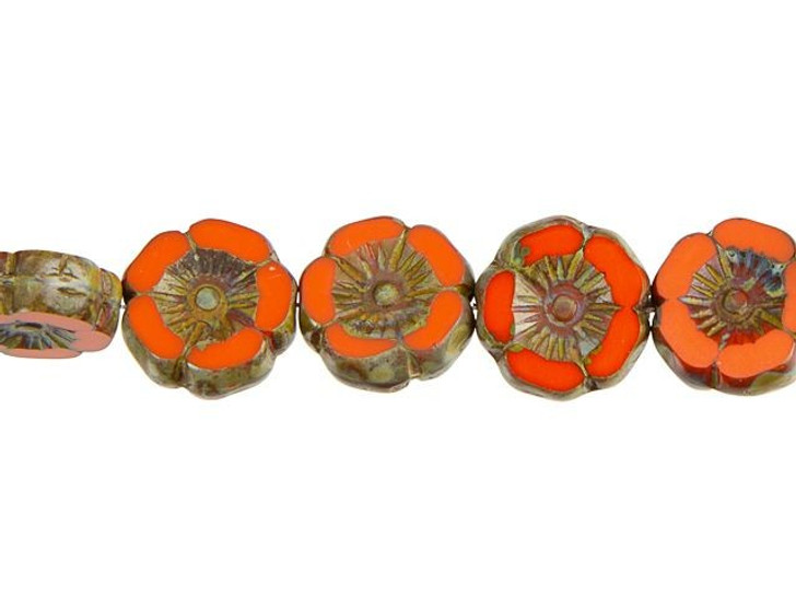 Czech Glass 12mm Coral Orange with Picasso Finish Hibiscus Flower Bead Strand by Raven's Journey