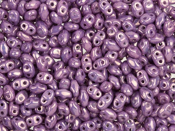 Matubo MiniDuo 2 x 4mm Opaque Amethyst Luster 2-Hole Czech Beads 10g Bag
