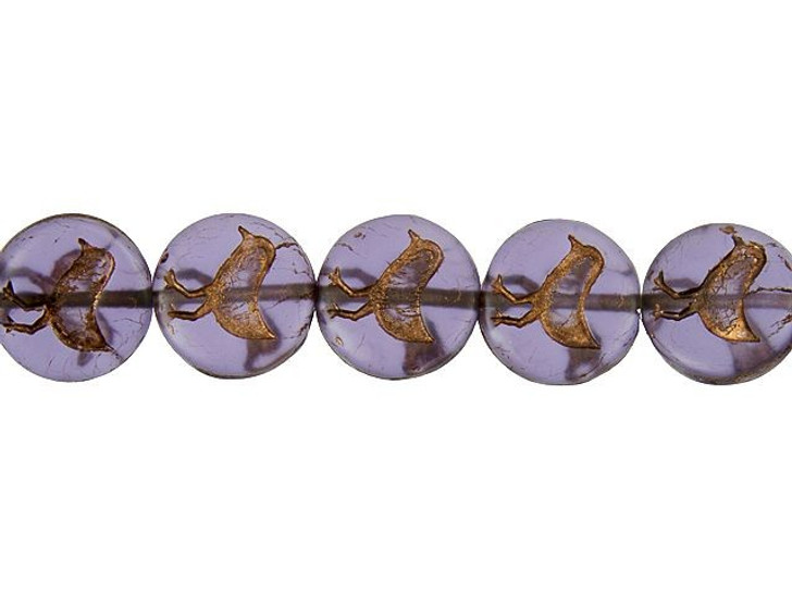Czech Glass 12mm Matte Tanzanite Purple with Bronze Wash Bird Coin Bead Strand by Raven's Journey