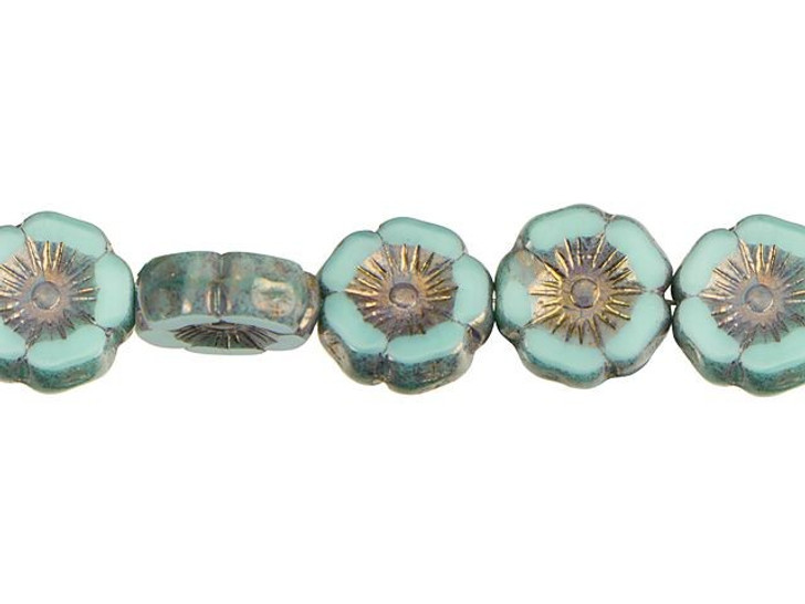 Czech Glass 12mm Mint Green Silk with Bronze Finish Hibiscus Flower Bead Strand by Raven's Journey