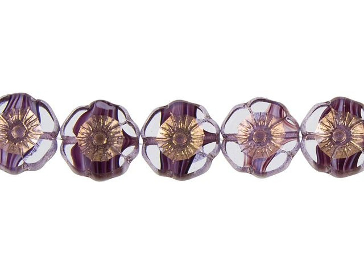 Czech Glass 12mm Purple and White Stripe in Crystal with Bronze Finish Hibiscus Flower Bead Strand by Raven's Journey