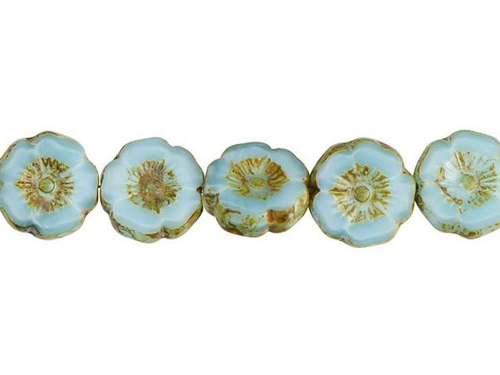 Czech Glass 12mm Sky Blue Silk with Picasso Finish Hibiscus Flower Bead Strand by Raven's Journey