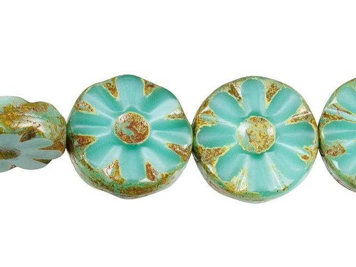 Czech Glass 12mm Turquoise Silk with Picasso Finish Flower Coin Bead Strand by Raven's Journey
