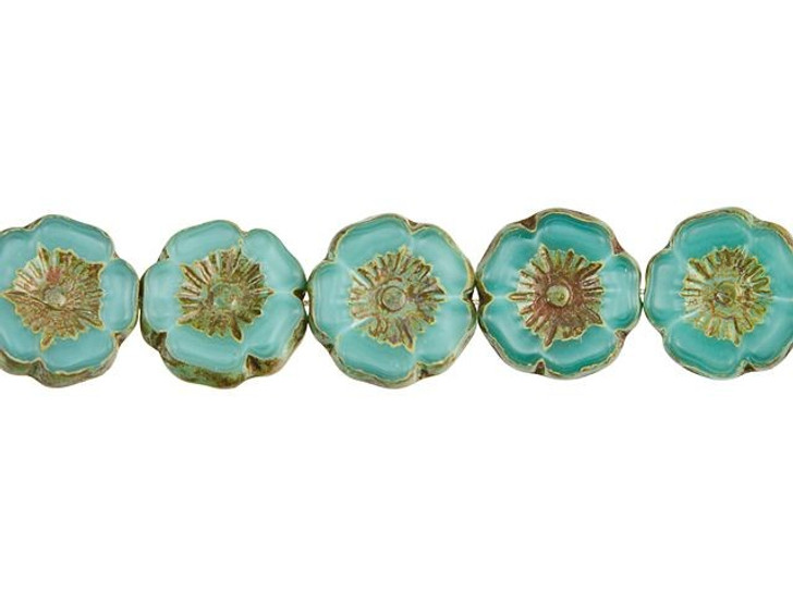 Czech Glass 12mm Turquoise Silk with Picasso Hibiscus Flower Bead Strand by Raven's Journey