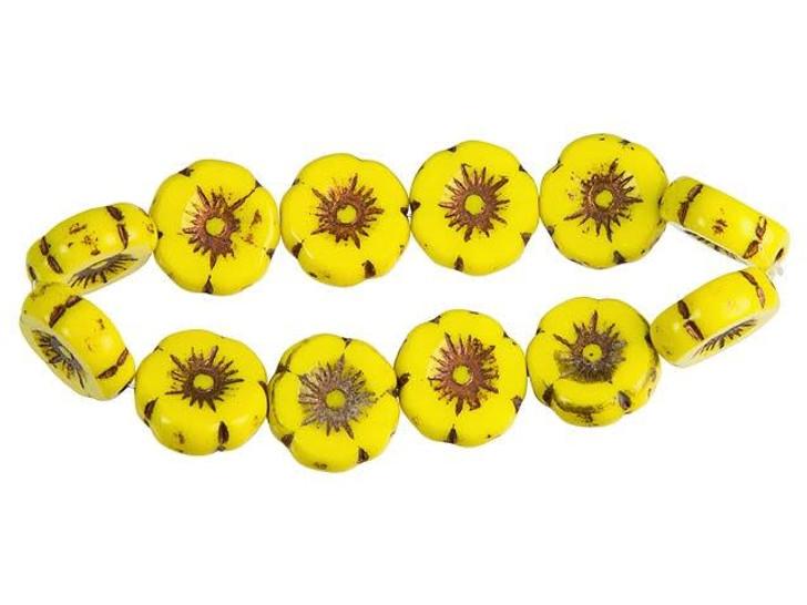 Czech Glass 12mm Yolk Yellow with Dark Bronze Finish Hibiscus Flower Bead Strand by Raven's Journey