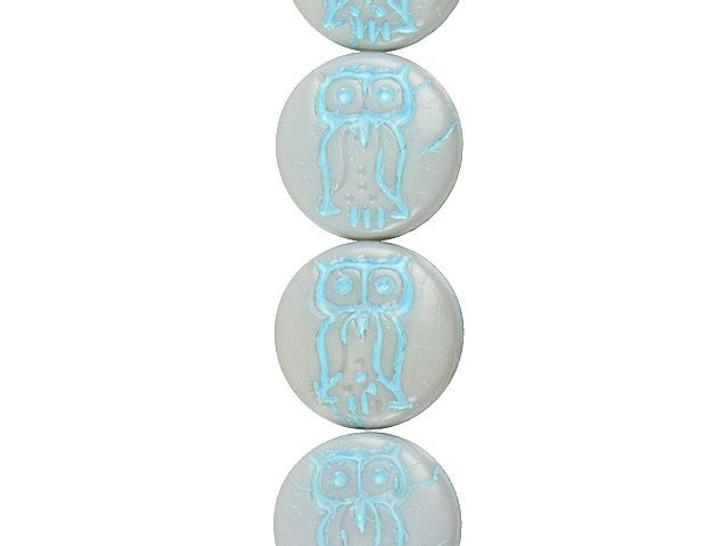 Czech Glass 14mm Pressed Coin Owl Opaque Slate Grey with Turquoise Wash Bead Strand by Raven's Journey