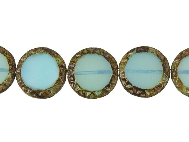 Czech Glass 16mm Mayan Sun Table-Cut Coin Aqua Blue Silk Picasso Bead Strand by Raven's Journey
