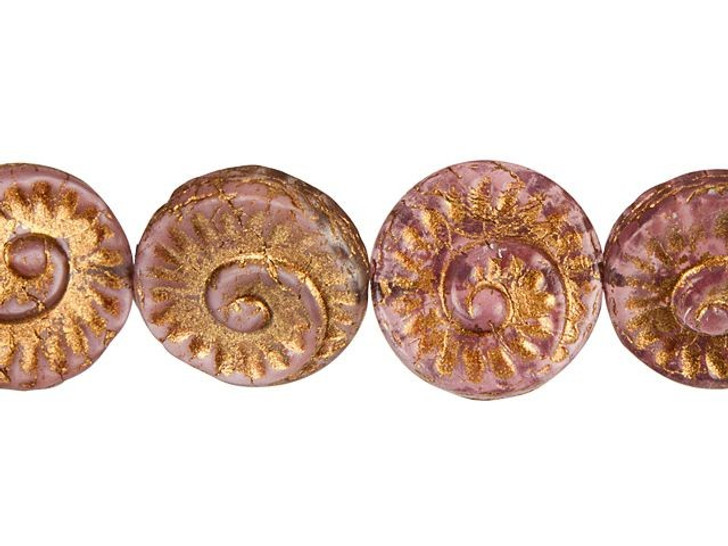 Czech Glass 17mm Opaline Pink with Dark Bronze Finish Fossil Bead Strand by Raven's Journey