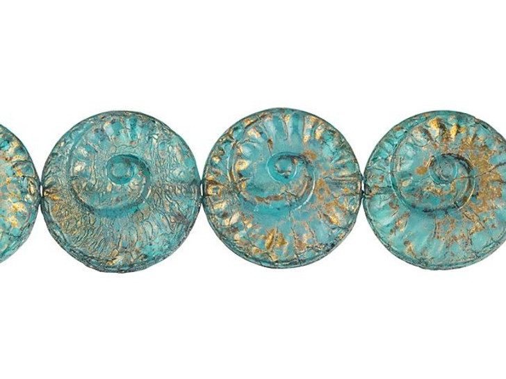 Czech Glass 18mm Aqua Blue Transparent with White Core and Golden Luster Finish Fossil Bead Strand by Raven's Journey