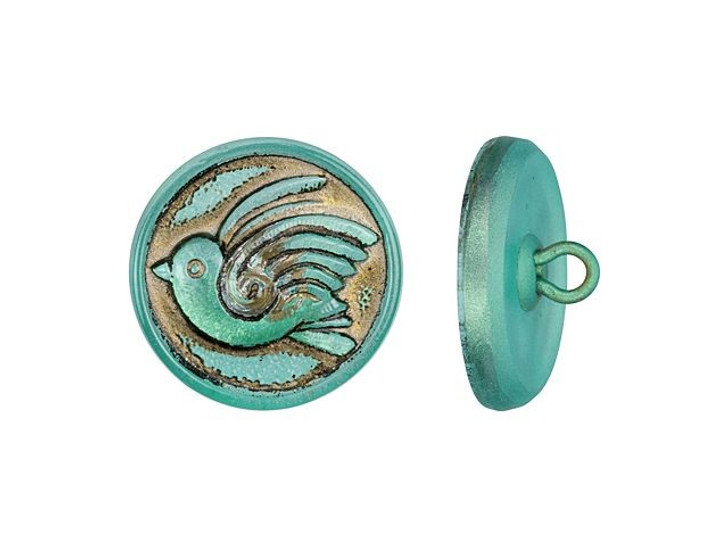 Czech Glass 18mm Round Bird Design Aqua Blue Antiqued Glass Button by Raven's Journey
