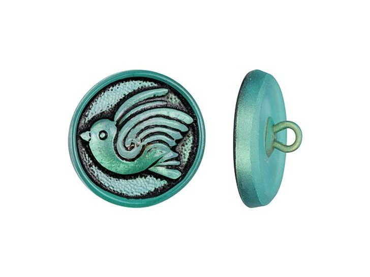 Czech Glass 18mm Round Bird Design Aqua Blue with Black Wash Glass Button by Raven's Journey