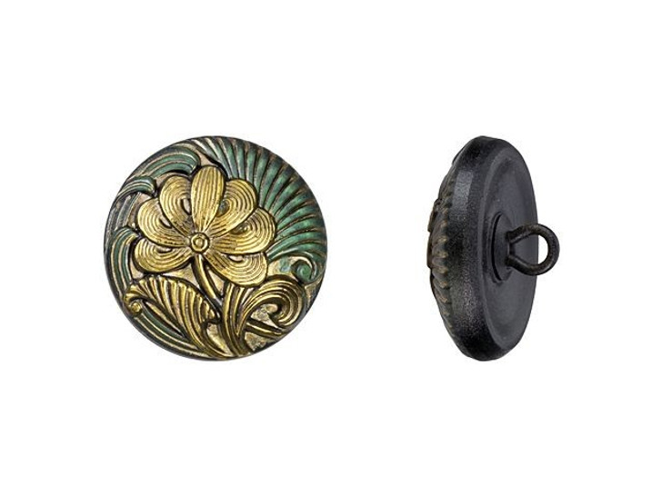 Czech Glass 18mm Round Flower Design Tourmaline Green Antiqued with Gold Paint Glass Button by Raven's Journey