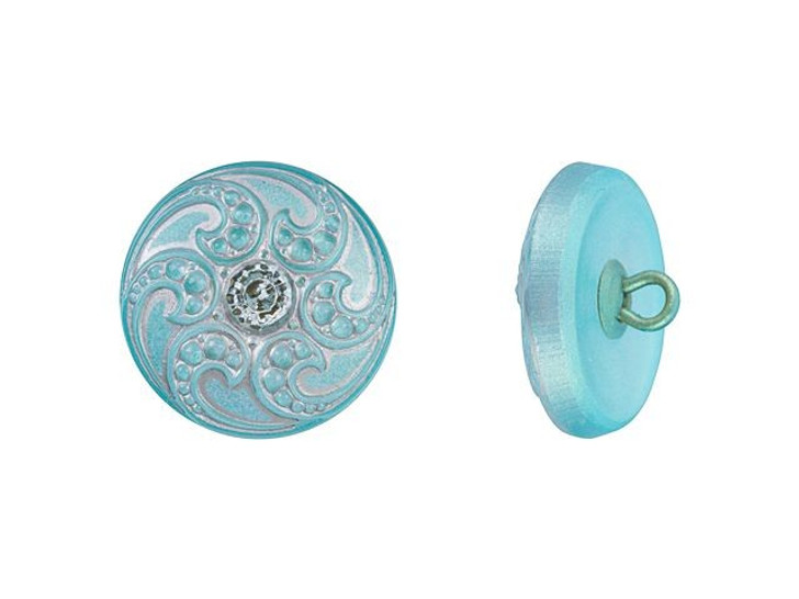 Czech Glass 18mm Round Jewel Spiral Aqua Blue with Silver Wash Glass Button by Raven's Journey