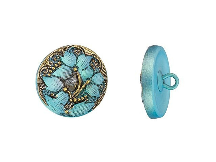 Czech Glass 18mm Round Lacy 3 Flower Aqua Blue with Jet Wash and Gold Paint Glass Button by Raven's Journey