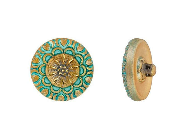 Czech Glass 18mm Round Lacy Flower Turquoise with Gold Paint Glass Button by Raven's Journey